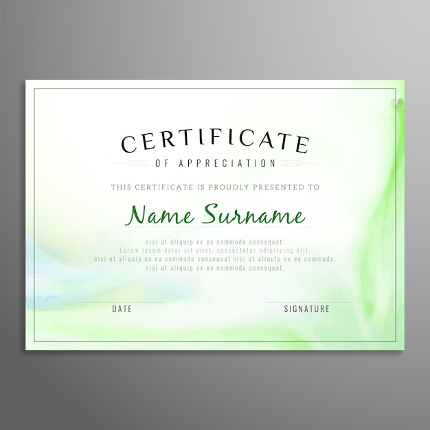 Green certificate of appreciation template Vector Free Download - certificate of appreciation templates free download