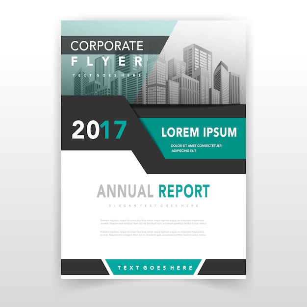 Green cover annual report template Vector Free Download
