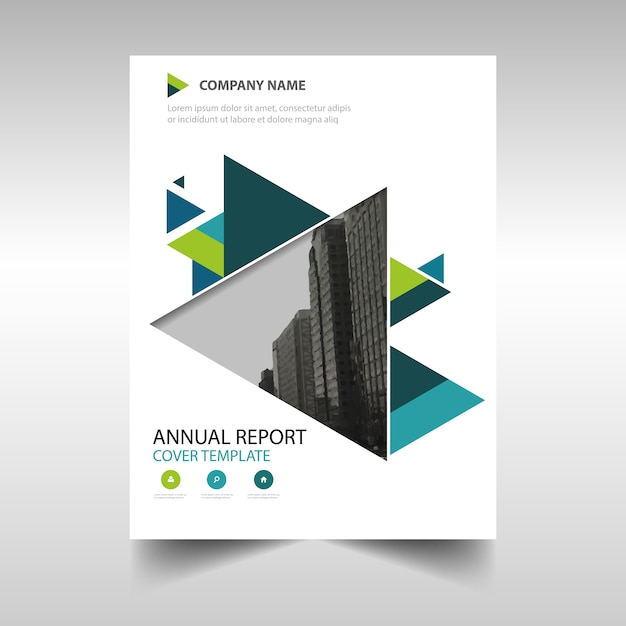 Green creative annual report book cover template Vector Free Download