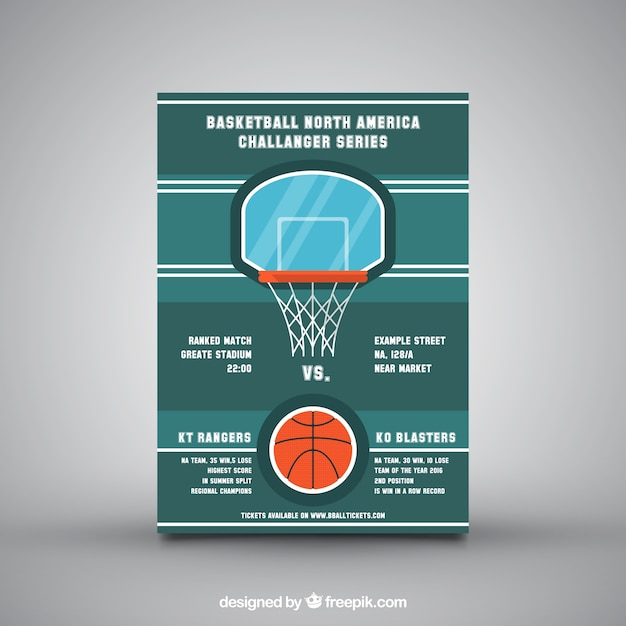 Green leaflet with basketball basket Vector Free Download - basketball flyer example