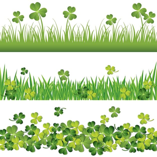 Green shamrock borders set for St Patrick\u0027s Day card Vector - 's day borders
