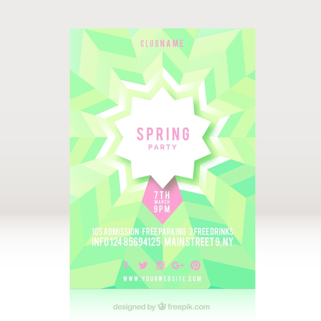Green spring party flyer template Vector Free Download - spring flyer template