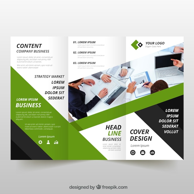 Green trifold business flyer Vector Free Download