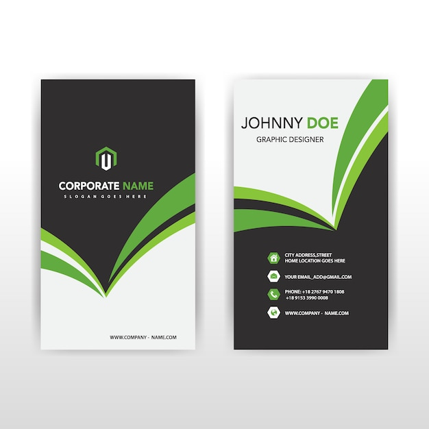 Green vertical business card Vector Free Download