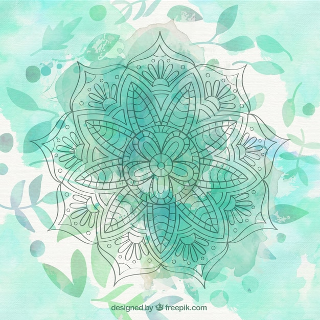 Cute Pintrest Quote Wallpapers Green Watercolor Mandala Background With Leaves Vector