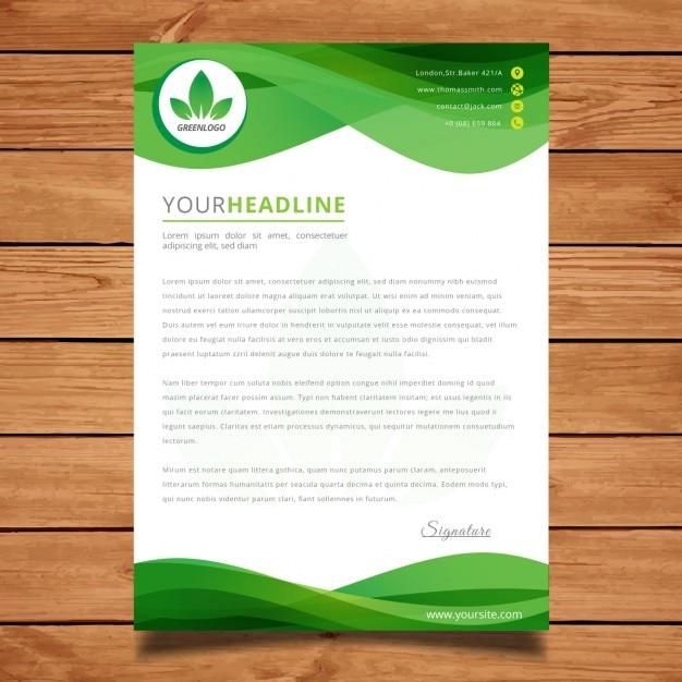 Green wavy letter template Vector Free Download - Ms Word Cover Page Templates Free Download