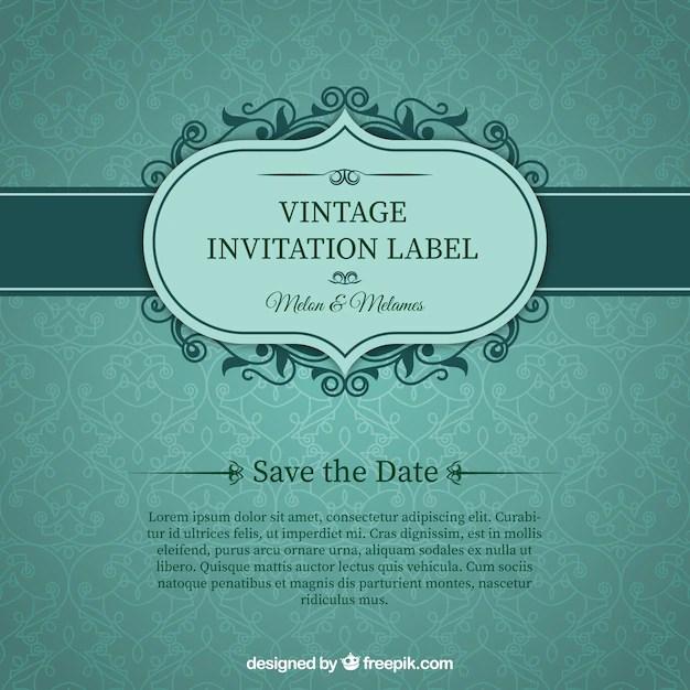 Green wedding invitation card Vector Free Download