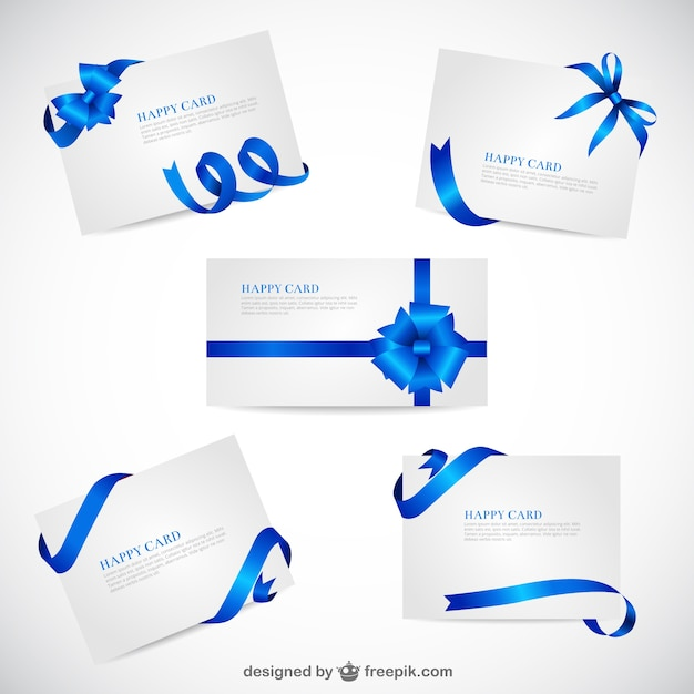 Greeting cards template with blue ribbons Vector Free Download