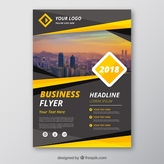 Grey and yellow business flyer template Vector Free Download