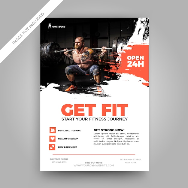 Grunge fitness flyer template Vector Premium Download