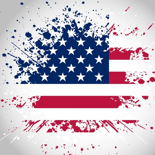 Grunge style american flag background Vector Free Download