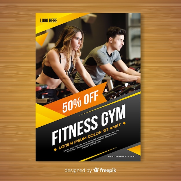 Gym brochure template Vector Free Download