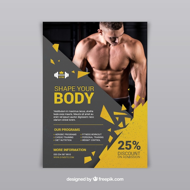 Gym center flyer with different activities Vector Free Download