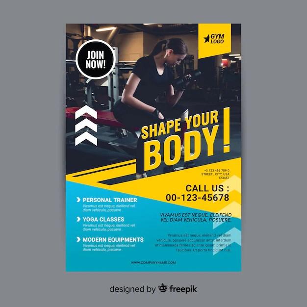 Gym flyer brochure Vector Free Download