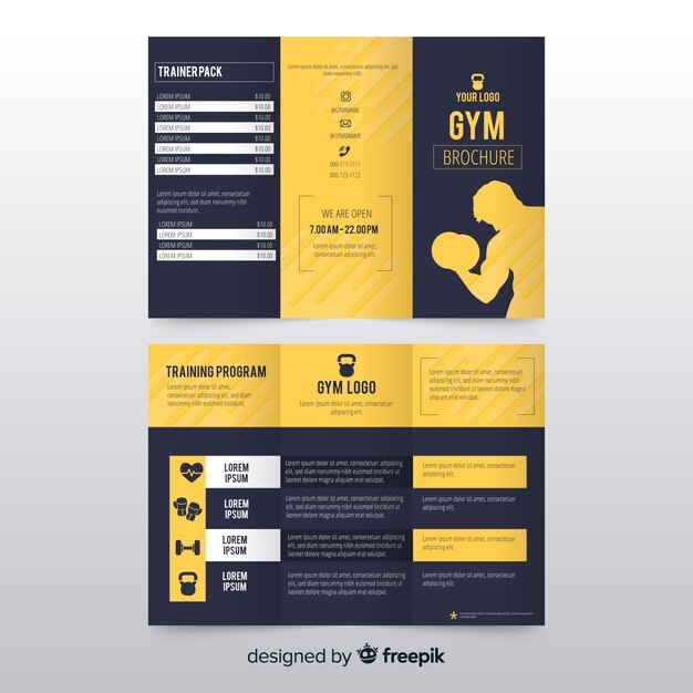 Gym trifold brochure Vector Free Download