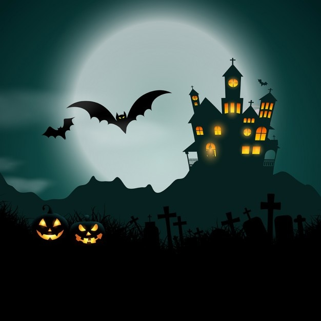 Creepy Fall Wallpaper Halloween Background With Haunted House And Pumpkins