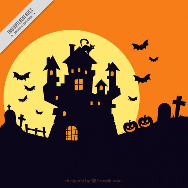 Cute Pumpkin Wallpaper Halloween Background With Haunted House Silhouette Vector