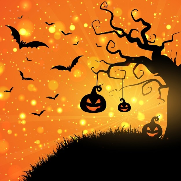 Fall Desktop Wallpaper With Pumpkins Halloween Background With Pumpkins And Bats Vector Free