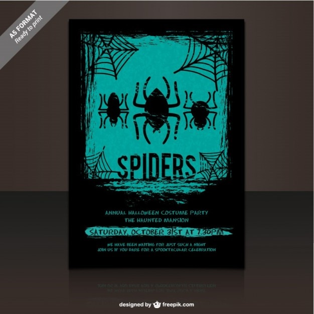 Halloween costume party flyer template Vector Free Download