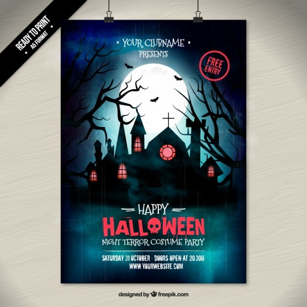 Halloween costume party poster Vector Free Download