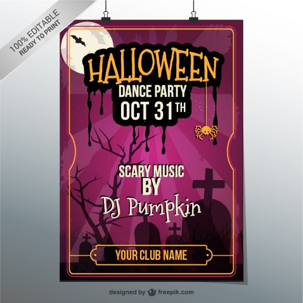 Halloween dance party poster Vector Free Download
