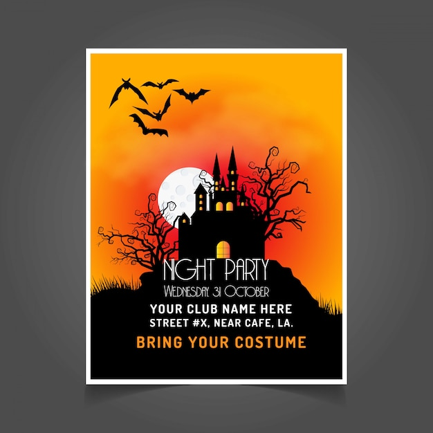 Halloween party invitation card with dark background vector Vector