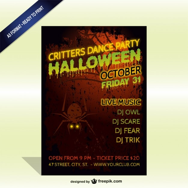 Halloween party spooky flyer template Vector Free Download