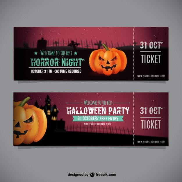 Halloween party ticket template Vector Free Download - party ticket template free