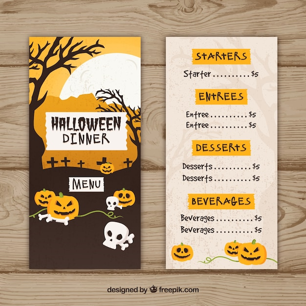 Halloween retro menu Vector Free Download