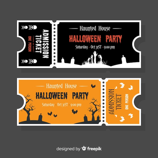 Halloween ticket template concept Vector Free Download
