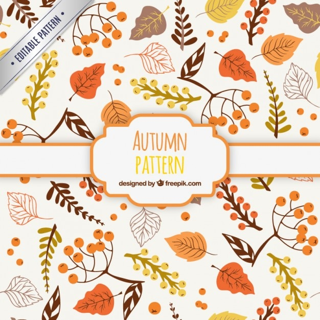 Fall Leaves Fox Wallpaper Hand Drawn Autumn Pattern Vector Free Download
