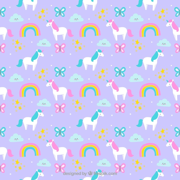 Cute Ballet Wallpapers Hand Drawn Beautuful Unicorns With Rainbows And