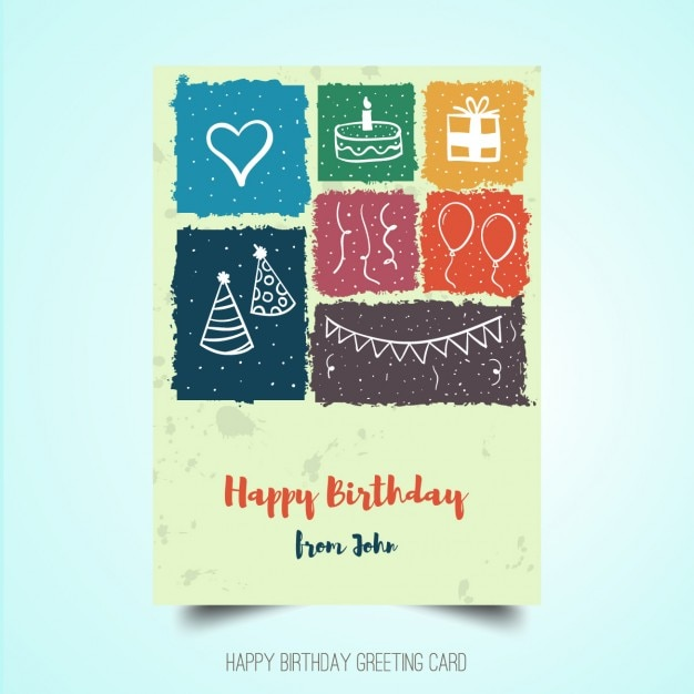 Hand drawn birthday poster Vector Free Download