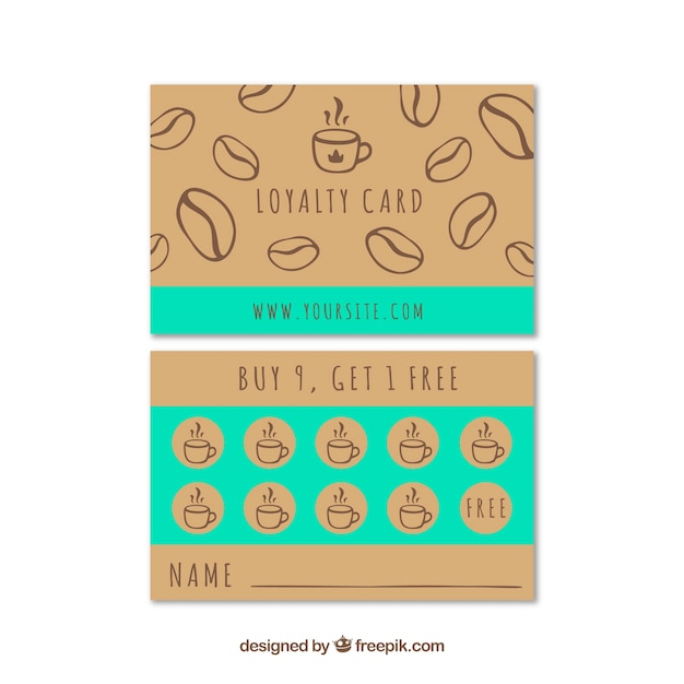 Hand drawn cafe loyalty card template Vector Free Download