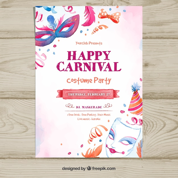 Hand drawn carnival party flyer template Vector Free Download
