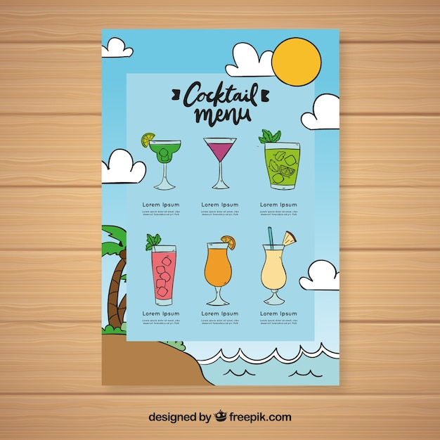 Hand drawn cocktail menu template Vector Free Download
