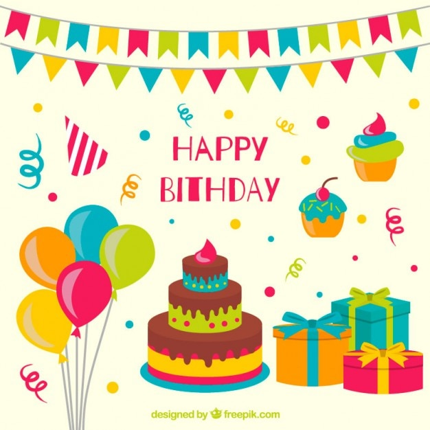 Fb Cute Wallpaper Hand Drawn Colorful Birthday Decoration Vector Free Download