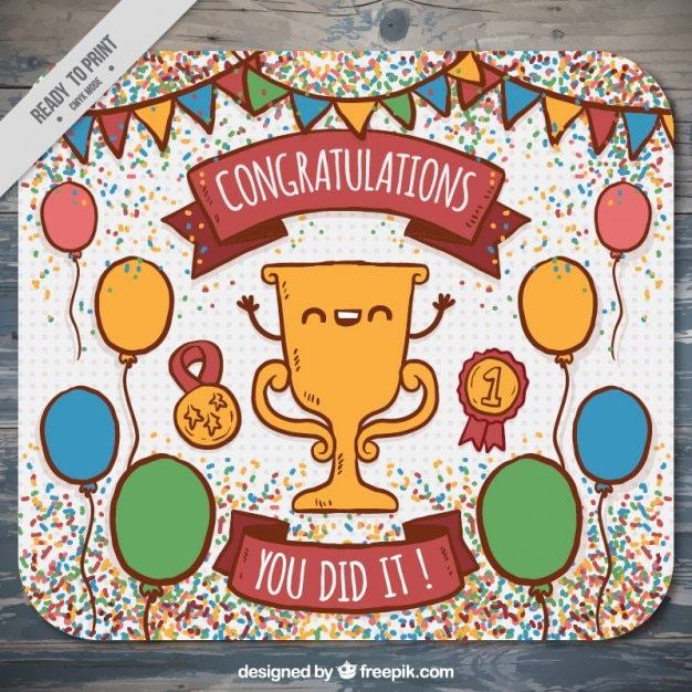 Hand drawn congratulation card with a nice trophy Vector Free Download