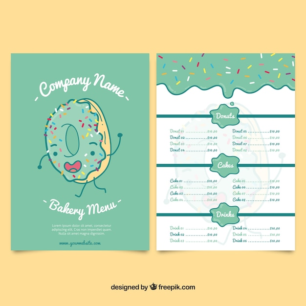 Hand drawn donut bakery menu template Vector Free Download
