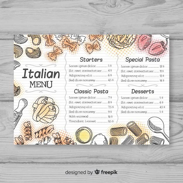 Hand drawn elegant restaurant menu template Vector Free Download