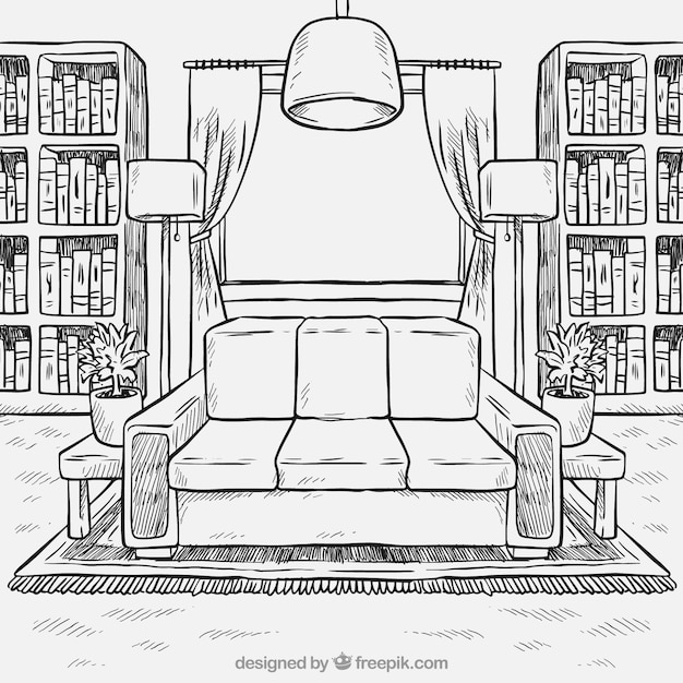 Hand drawn living room furniture background Vector Free Download - free living room furniture