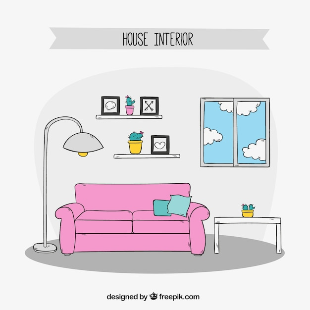 Hand-drawn living room furniture Vector Free Download - free living room furniture