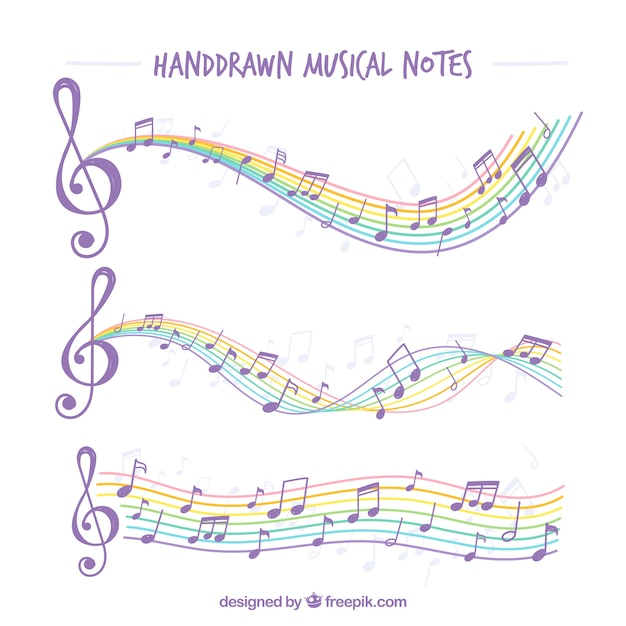 Hand-drawn musical notes with colorful staves Vector Free Download
