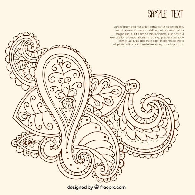 Hand drawn ornamental paisley template Vector Free Download