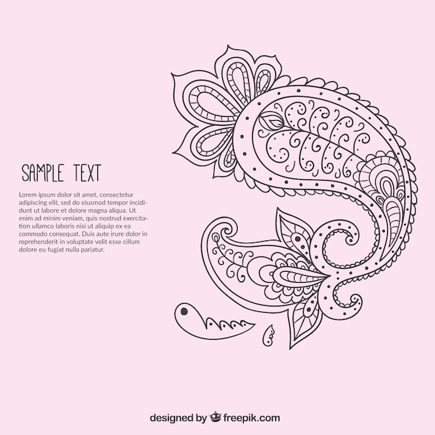Hand drawn paisley ornament template Vector Free Download