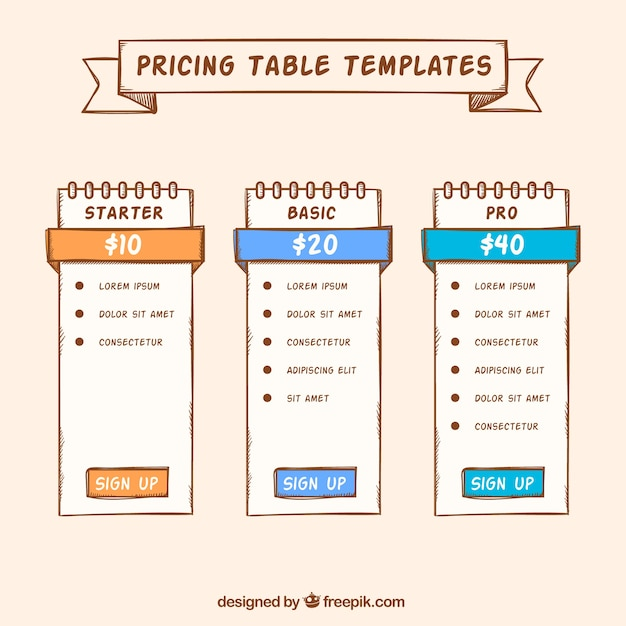 Hand drawn price banners templates Vector Free Download