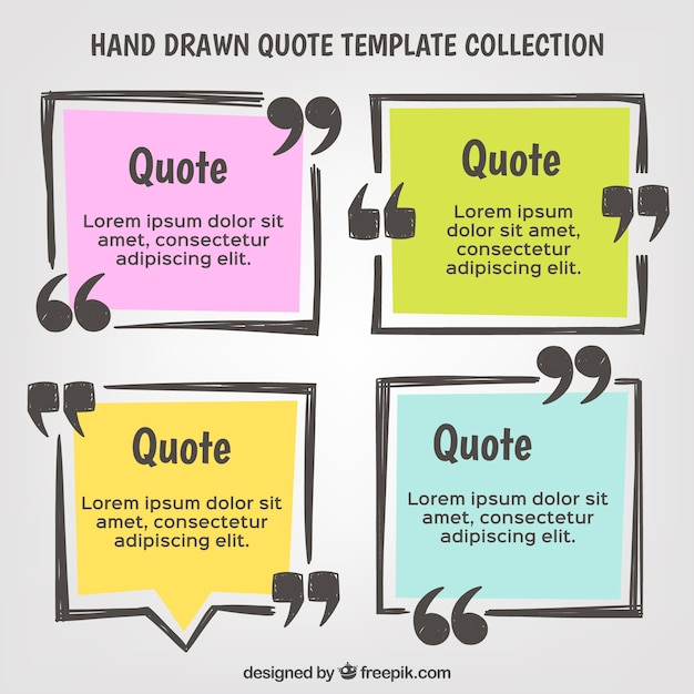 Hand drawn quote template set Vector Free Download - quote template