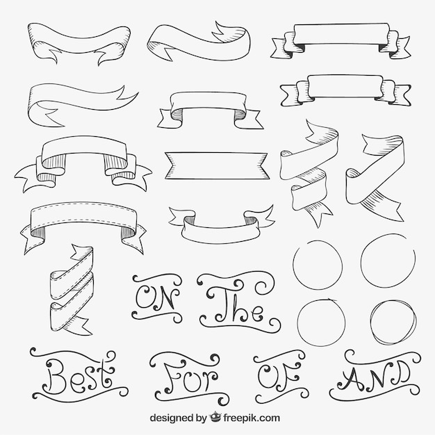Listones Para Marcos De Cuadros Hand Drawn Retro Ribbons Vector | Free Download