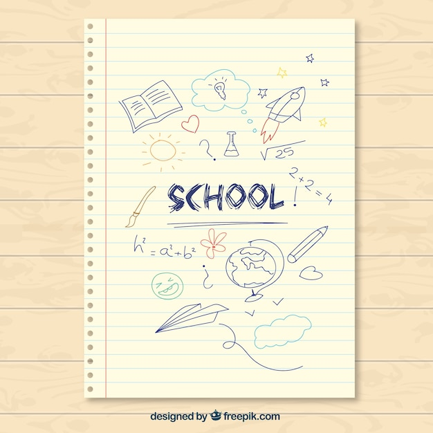 Hand drawn school paper note Vector Free Download