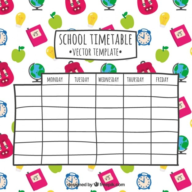 Hand drawn school timetable Vector Free Download
